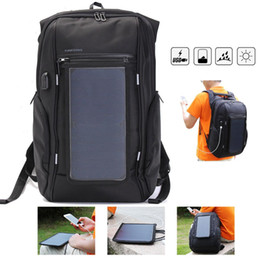 travel laptop charger 2018 - 2018 Outdoor Travel Solar Panel Backpack Laptop Bag USB Charger Duffel Bag Big Capicity Business Backpack NNA274 cheap t
