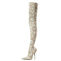 612de2643d89 2018 autumn over the knee high heels dollors Print stilettos fashion boots  shoes for woman stretch boots thigh high boots big size