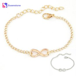 fashion wholesale dropshipping 2019 - SUSENSTONE 2018 Fashion Link Chain Women Men Handmade Gift Charm 8 Shape Jewelry Infinity Bracelet Siver and Gold dropsh