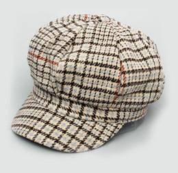 fae48037dd6 Autumn and winter British retro Bailey hat plaid woolen octagonal hat sweet  literary ladies painter hat