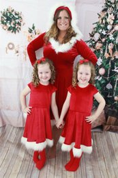 $enCountryForm.capitalKeyWord NZ - Newest Christmas Clothes Family Look Red Christmas Dresses Suits Pajamas Hot Sale Mother And Daughter Matching Christmas Dresses Costumes