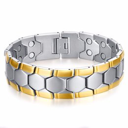 $enCountryForm.capitalKeyWord UK - Fashion Men's Cool Bracelets & Bangles Magnetic Silver Gold 316L Stainless Steel Charm Bracelet Jewelry for Man 21cm *18mm