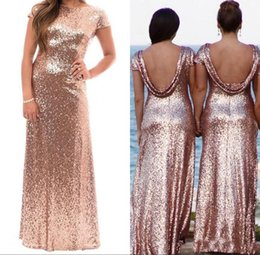 gold sequin prom dress short Australia - 2019 Shiny Rose Gold Sequins Long Bridesmaid Dresses With Short Sleeves Backless Floor Length Prom Gown Wedding Party Dress