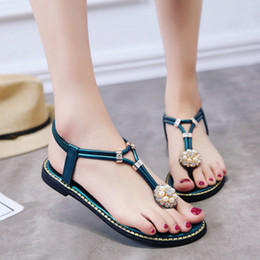 $enCountryForm.capitalKeyWord Australia - Women's Sandals Bohemian Flip Flops 2018 Rhinestone Diamond Beach Sandal Flats Lady Black Green Luxury Sandals Slingbacks