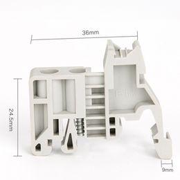 Rails Blocks NZ - 100PCS E-UK 35mm Rail End Screw Clamp Terminal Fixed Block Gray Feed-Through Terminal Block Combined Type