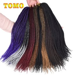 $enCountryForm.capitalKeyWord Canada - TOMO Ombre Box Braids #1B 1 2 Grey Brown Burgundy Crochet Braiding Hair Extensions Kanekalon Synthetic Braid 14 18 22inch 22 strands pack