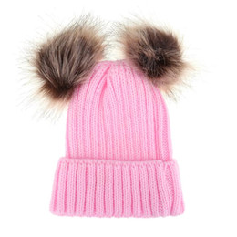 7888cccdd75f Family Matching Hat Baby Girls Boys Autumn Winter Warm Hat Caps Mom and  Baby Double Fur Pom Pom Ball Knitted Beanies Hat