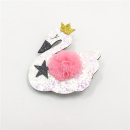 $enCountryForm.capitalKeyWord UK - Barrette 20pcs  Lot Glitter Cartoon Swan Hair Clips Sparkly Gold Glitter Crown No Slip Felt Animal Hairpin Gauze Ball Girls Barrette