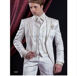 custom embroidered jackets NZ - New Style One Button Embroider Groomsmen Peak Lapel Groom Tuxedos Men Suits Wedding Prom Dinner Best Man Blazer(Jacket+Pants+Tie+Vest)