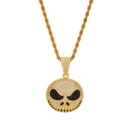 jack gifts UK - Men Christmas Hip Hop Jewelry Gold Plated Bling CZ Jack Skull Charm Pendant Necklaces Halloween Gift