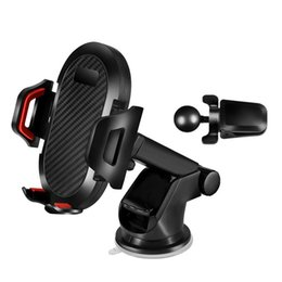 Wholesale Car Mount Universal Windshield Dashboard Mobile Phone Holder Carbon fiber Strong Suction Cup cell phone Clip for IPhone XR XS Max X Samsung