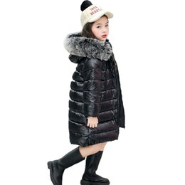 4696ed2481dc7 girls winter 90% white duck down padded jacket real fox fur parkas hooded  coat baby boy children kids tops snowsuit 8 12 years
