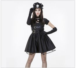 police woman costume shorts 2019 - New Style Halloween Women Police Officer Cops Uniform Gothic Punk Black Patchwork Dress Sexy Policewoman Cosplay Costume