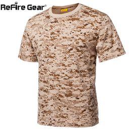 combat camo shirt 2019 - ReFire Gear Camouflage T Shirt Men Cotton US Army Combat Tactical T-Shirt Summer Quick Dry Breathable Man Camo T Shirts