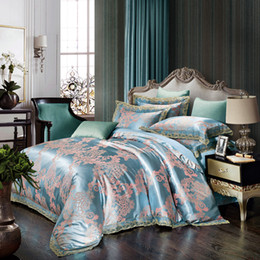 6e6f8f1a7a69b Discount cotton comforters Luxury modal silk lace bedding set 4 pieces bed  set sky blue quilt