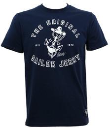 Navy Blue Slim Shirt Australia - SAILOR JERRY Tattoo Original Anchor Logo Slim Fit T-Shirt Navy Blue S-3XL NEW Brand 2018 New T Shirt Man Cotton Top Tee