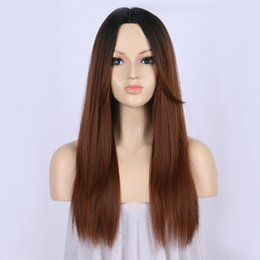 dark brown long heat resistant wigs 2019 - Free Shipping Dark Brown Ombre Wig Synthetic Hair Lace Front Wigs for Women Long Straight Wig Dark Roots 16 Inches Heat