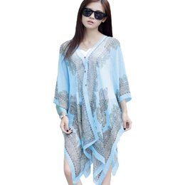 Large Chiffon Sunscreen Beach Tunica Scialle Sciarpe Flower Poncho Cape Scarf Donna Kaftan Kimono Bikini Beachwear Swimsuit Cover Up