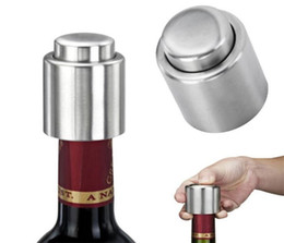 wine press UK - 300pcs Stainless Steel Vacuum Sealed Red Wine Storage Bottle Stopper Plug Bottle Cap Pressing type red wine Stopper C136