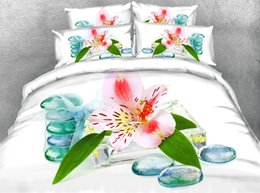 Queen Pink Floral Comforters NZ - 3D white bedding sets floral duvet cover bedspreads comforter cover Bed Linen Quilt Covers pink flowers silver bed cover for adults 3pc