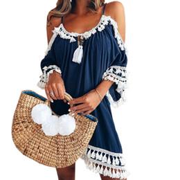 0ced53b9d528 Boho Off Shoulder Tassel Dresses Femme Spaghetti Strap V-neck Dress Women  Summer Backless Loose Plus Size Beach Sundress GV130