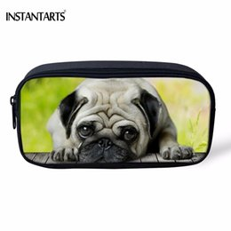 Dog Zipper Australia - INSTANTARTS Funny 3D Pug Dog  French Bulldog Printing Women Cosmetic Cases Children Boys Girls Pencil Case Travel Make Up Bags
