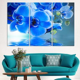 purple flower canvas paintings 2019 - 3 Pcs Purple Orchid Flowers Modern Style Abstract Canvas Oil Painting Landscape Poster Pictures Decorative Painting Wall