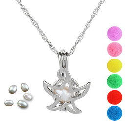 Discount cage pendants for pearls - Pearl Cage Sea Star Locket Pendant Findings Cage Essential Oil Diffuser Locket For Oyster Pearl Fiber Ball
