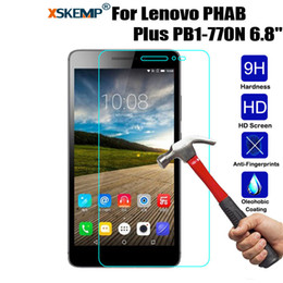 "lenovo pb1 2019 - XSKEMP 9H Real Tempered Glass Lenovo PHAB Plus PB1-770N 6.8"" Anti-Shatter Explosion proof Clear LCD Tablet Screen P"