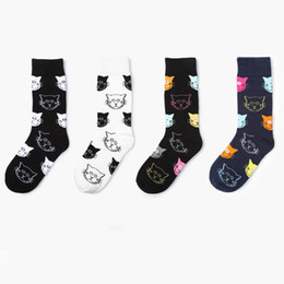 pair cartoon NZ - 1 Dozen   12 pairs New Arrival Cartoon Cat Pattern Women Socks Black White Casual Cotton Soft Breathable Socks for Female wholesale