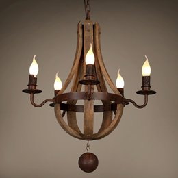 $enCountryForm.capitalKeyWord Australia - French Baroque wood chandelier retro wooden barrel e14 lamps old wrought iron dining room living room bar cafe Home lighing G182