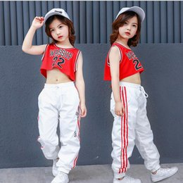 9a616f18e Girls Red Cotton Ballroom Modern Jazz Hip Hop Dance wear Competition  Costumes for Kids Crop Vest Tops Pants Dancing Outfits