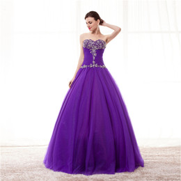 $enCountryForm.capitalKeyWord NZ - Stunning Ball Gown Prom Dresses Purple Pleats Tulle with Sequines beads Quinceanera Dresses Party Dress
