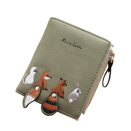 fd40072b0faa Cute Fresh Folding Mini Wallets Women Men Fox PU Women Short Wallet Zero Purse  Small Clutch Purse Coin Card Holder
