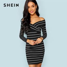 SHEIN Black and White Cross Criss Striped Bodycon Dress Party Sexy V Neck  Long Sleeve Dresses Women Autumn Elegant Mini Dress 28a94b68a772
