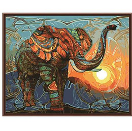 China Frameless Vintage Painting Elephant DIY Painting By Numbers Kits Acrylic Paint On Canvas Home Wall Art Picture Artwork 40x50cm suppliers