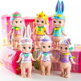 Angels Figures Australia - 6 pcs set Sonny Angel mini figure set Easter series Kewpie baby dolls animal duck rabbit toys original boxes for Kids Phone Accessories