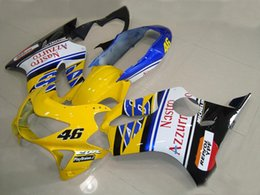 Discount honda cbr f4 fairing sets - Injection mold Fairing kit for HONDA CBR600F4 99 00 CBR600 F4 1999 2000 CBR 600 ABS yellow white Fairings set+7gifts HC1