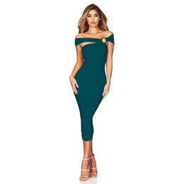 ab5489d23c8 Off The Shoulder Mid-Calf Dress 2018 Sexy Women s Party Celebrity Sheath Bodycon  Dress Rayon Bandage