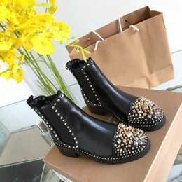 Spiked canvaS ShoeS online shopping - Fashion luxury designer women boots red bottoms women Boot Girls Designer Luxury Shoes With Studded Spikes Party Boots Winter Free DHL Shoes