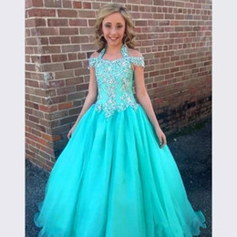 Tulle dress juniors online shopping - Halter Pageant Dresses For Girls Teens Beadeds A Line Flower Girl Dresses For Weddings Junior Glitz First Communion Dress Kids Formal Wear