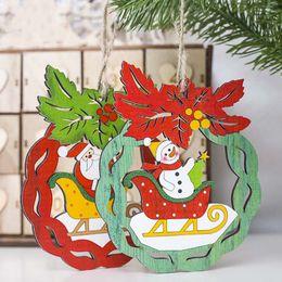 Snowman Party Decorations Australia - 1PC Christmas Santa Claus Snowman Wooden Pendants Ornaments Xmas Tree DIY Crafts Kids Gift for Home Christmas Party Decorations