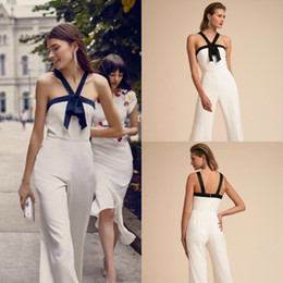 Discount red club jumpsuits plus size - Black Halter Neckline Jumpsuit BHLDN Evening Gowns On Sale Cheap Chiffon Ivory Body Skimming Pantsuits Custom Made
