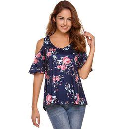 $enCountryForm.capitalKeyWord NZ - HALIFE Summer Flower Print Cold Shoulder Women T Shirt V Neck Short Sleeve Boho T-Shirt Plus Size Tops Camiseta Feminina YSK30