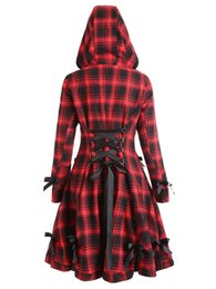 england women coat 2019 - LANGSTAR 2017 Autumn Coat Women Plaid Hooded Button Up Skirted Coat Gothic Bow Lace-Up Long Pocket Women Outerwear Trenc