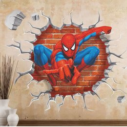 Spiderman StickerS for wall online shopping - 3D Spiderman Cartoon Wall Sticker PVC Self adhesive Movie Wall Dec for Kids Room Living Room Home Kindergarten Decoration cm QT006