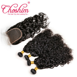 $enCountryForm.capitalKeyWord NZ - Brazilian Water Wave 4 Bundles with Closure Unprocessed Brazilian Virgin Human Hair Weave With Lace Closure Hair Extensions 5 Pieces Lot