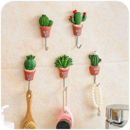 $enCountryForm.capitalKeyWord Australia - 3D Wall Stickers Cactus Decorative Wall Hook Waterproof Hanger Towel Key Hook For Coat Bags Wall Art Home Decor