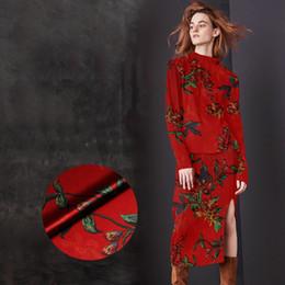 Red Fabrics NZ - 118CM Wide 19MM 93% Silk & 7% Spandex Floral Stretch Red Silk Satin Fabric for Summer Dress Shirt Clothes Cheongsam D897