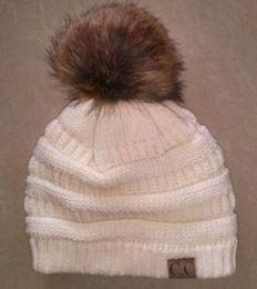 0df9e238896 Wholesale- 2018 Winter Stylish Women Faux Fur Pom Pom CC Knitted Beanie Hat  Warm Thicker Skullies Hats Fashion Bonnet Solid Beanies Caps